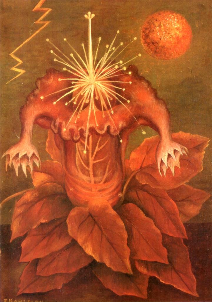 """Frida Kahlo, """"Flower of Life (Flame Flower)"""" (1943), oil on masonite, 27.8 x 19.7 cm (via wikiart.org)"""
