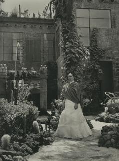 "Gisèle Freund, ""Frida in the Garden, Casa Azul"" (1951) (courtesy Throckmorton Fine Arts) (for a larger version, click here)"