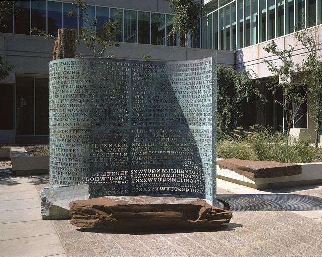 "James Sanborn, ""Kryptos"" (1991), installed in the CIA courtyard (photograph courtesy Jim Sanborn, via Wikimedia)"
