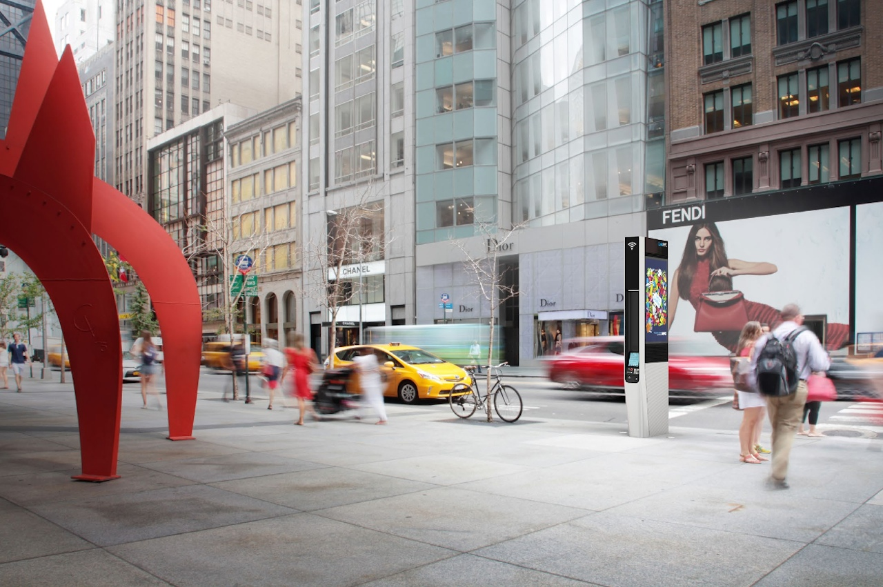 Rendering of a commercial LinkNYC link on 57th Street in Manhattan