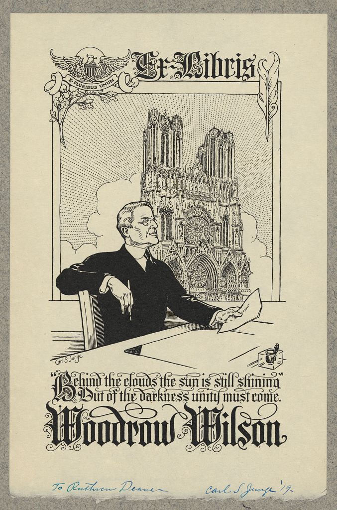 Bookplate of Woodrow Wilson, designed by Carl S. Junge (1910), woodcut (via Library of Congress, Prints and Photographs Division)