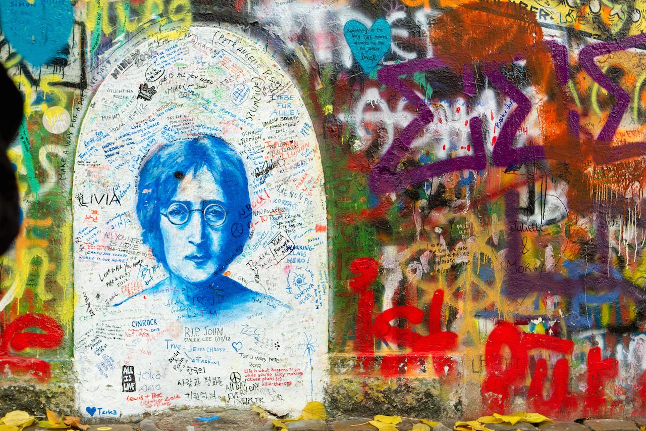 The John Lennon Wall in 2012 (photo by  Brian Jeffery Beggerly/Flickr)