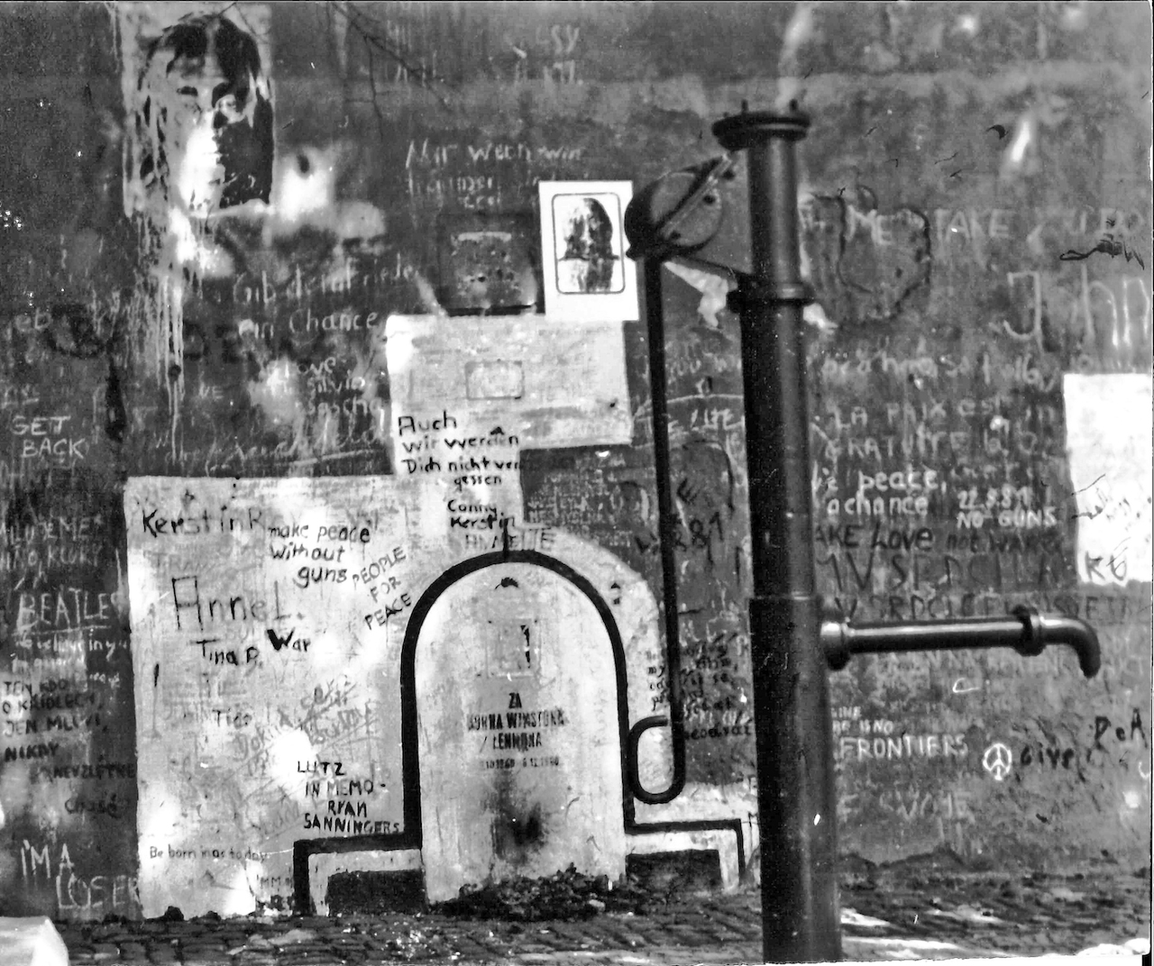 The John Lennon Wall in August 1981 (photo by Neptuul via Wikimedia Commons)
