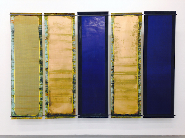 """Sam Lewitt, """"Screen Test Lineaments"""" (2014), five etchings in copper-clad  plastic, steel brackets; 68 x 106 1/4 x 6 1/4 inches"""