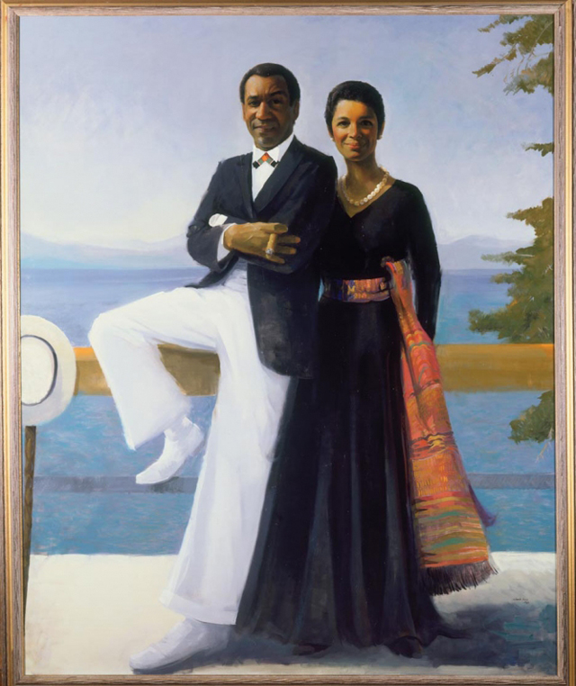 """Simmie Knox, """"Portrait of Bill and Camille Cosby"""" (1984), oil on canvas (photo by David Stansbury, image courtesy the artist)"""