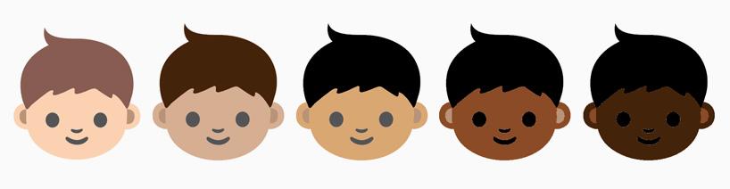 The proposed range of emoji skin tones (all images courtesy the Unicode Consortium)