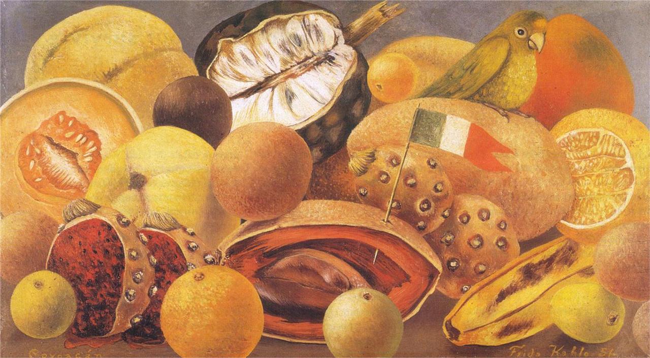 "Frida Kahlo, ""Still Life with Parrot and Flag"" (1951), oil on canvas, 25.4 x 29.7 cm (via wikiart.org)"