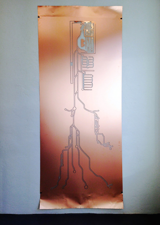 """Sam Lewitt, """"Weak Local Left Turn Lineament"""" (2014), milled copper-clad  plastic, polyester stiffener, blind assembly nuts; 100 x 48 inches"""