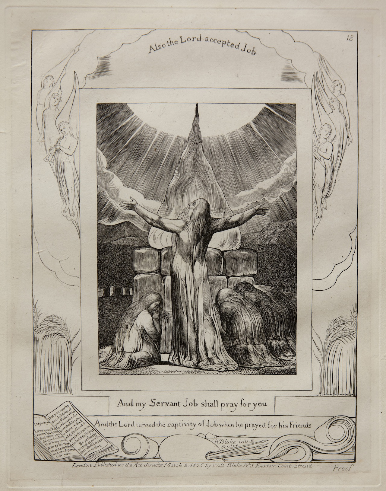 William Blake Job's Sacrifice, from Illustrations of the Book of Job, 1825 (published 1826) Engraving on India paper chine collé on wove paper Jansma Collection, Grand Rapids Art Museum, 2014.1s