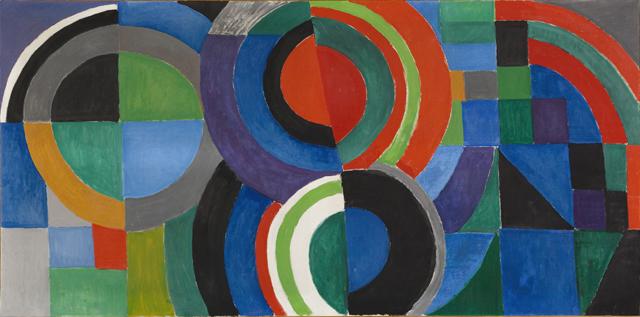 """Sonia Delaunay (1885-1979). """"Rythme couleur"""". Huile sur toile. 1964. Paris, musée d'Art moderne. Dimensions : 97,5 x 195,5 cm"""