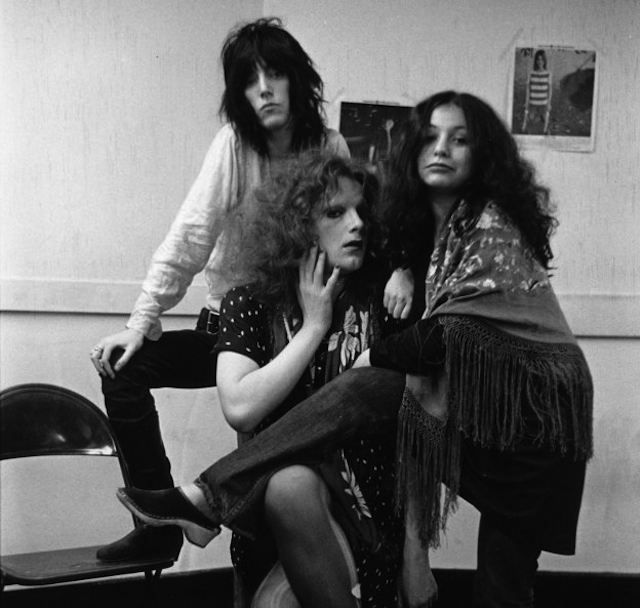 Patti Smith (left), Jackie Curtis (center), and Penny Arcade (right) (photo by Leee Black Childers)