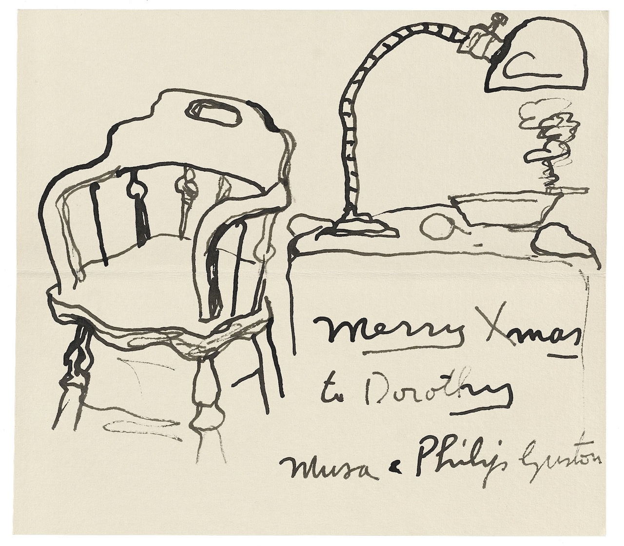 """Philip Guston, """"To Dorothy Miller"""" (c. 1972), Watercolor, Dorothy C. Miller papers, ca. 1912–92, Archives of American Art, Smithsonian Institution, © 2014 The Estate of Philip Guston"""
