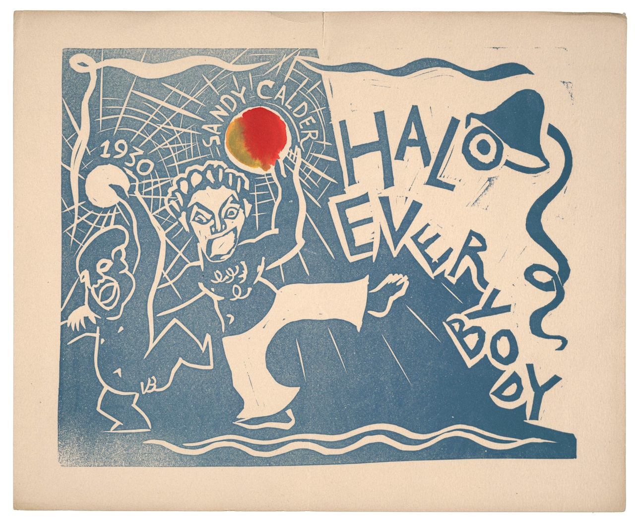 """Alexander Calder, """"Halo Everybody Handmade holiday card, unsent"""" (1929), Relief print, Alexander Calder papers, 1926–1967, Archives of American Art, Smithsonian Institution, © 2014 Calder Foundation, New York/ Artists Rights Society (ARS). New York"""