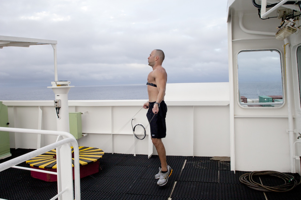 A morning routine on a container carrier