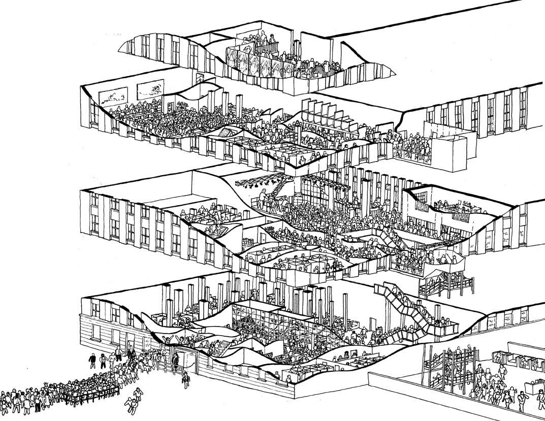 Exploded Axonometric Drawing: Berghain, Berlin  Illustrated by Henry Stephens (via 3daysawake.com)
