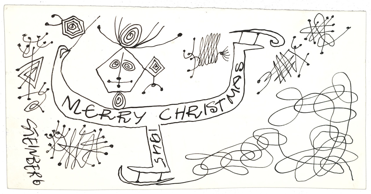 """Saul Steinberg, """"To Dorothy Miller"""" (1945), Ink on paper, Dorothy C. Miller papers, c. 1912–1992, Archives of American Art, Smithsonian Institution, © The Saul Steinberg Foundation / Artists Rights Society (ARS), New York"""