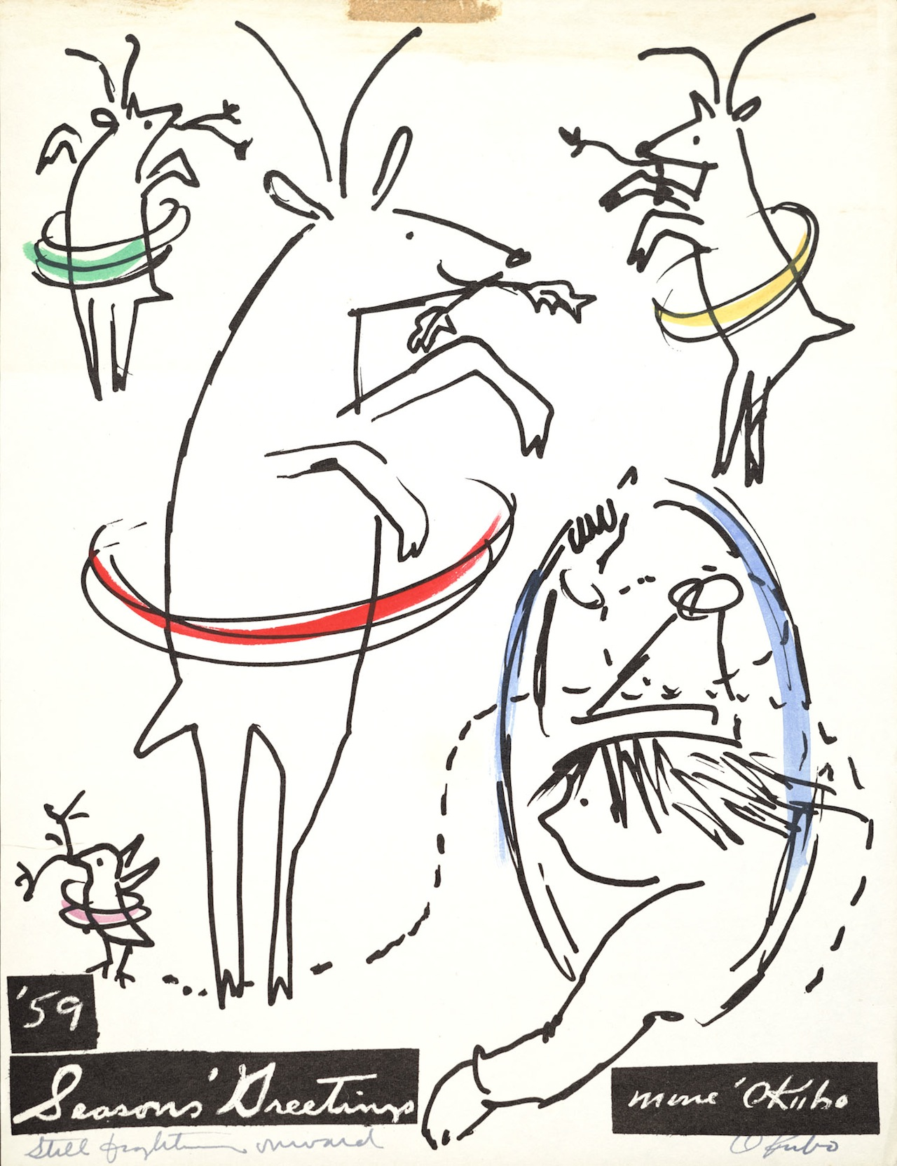 """Miné Okubo, """"To Bob Stocksdale and Kay Sekimachi"""" (1959), Hand-colored print, Bob Stocksdale and Kay Sekimachi papers, 1937–2004, Archives of American Art, Smithsonian Institution"""