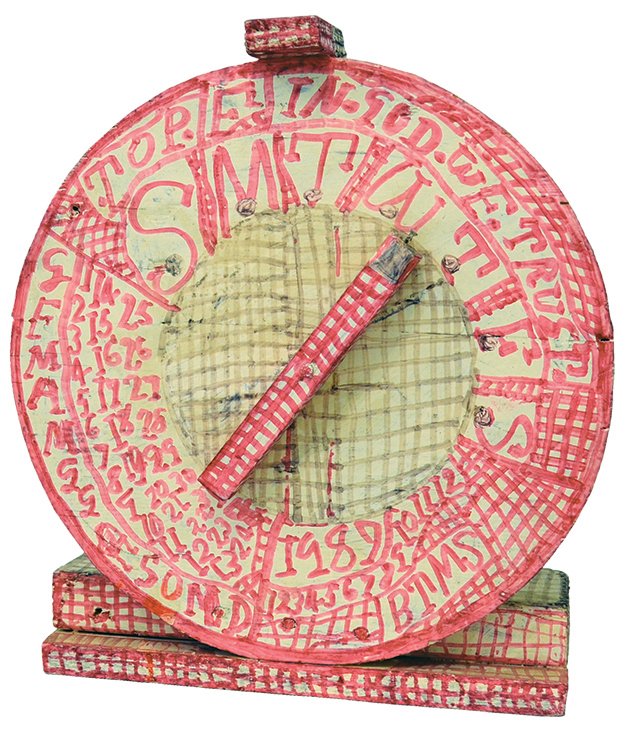 """Zebede Armstrong, """"Untitled,"""" 1987, Marker on wooden object, 15.25 x 13.25 in (Zebede Armstrong, """"Untitled,"""" 1987, Marker on wooden object, 15.25 x 13.25 in (courtesy gallery Christian Berst Art Brut)"""