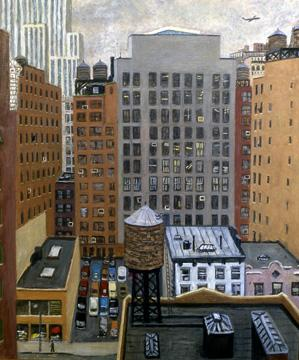 """Rudy Burckhardt, """"38th Street South"""" (1987), oil on linen, 38 x 32 inches"""