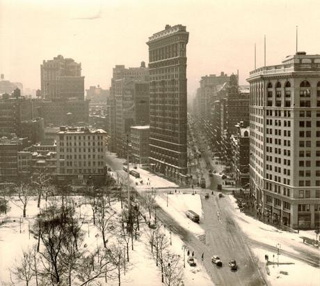 "Rudy Burckhardt, ""Flat Iron Building, Winter"" (1947/48) (vintage), gelatin-silver print, 7 1/4 x 8 1/8 inches"