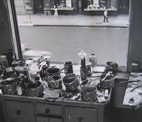 "Rudy Burckhardt, ""Willem de Kooning Studio I"" (1950), gelatin-silver print, 7 x 8 inches"