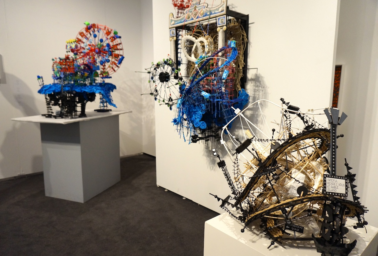 Work by Nathalie Miebach at the booth of Miller Yezerski Gallery at Pulse (all photos by the author for Hyperallergic)