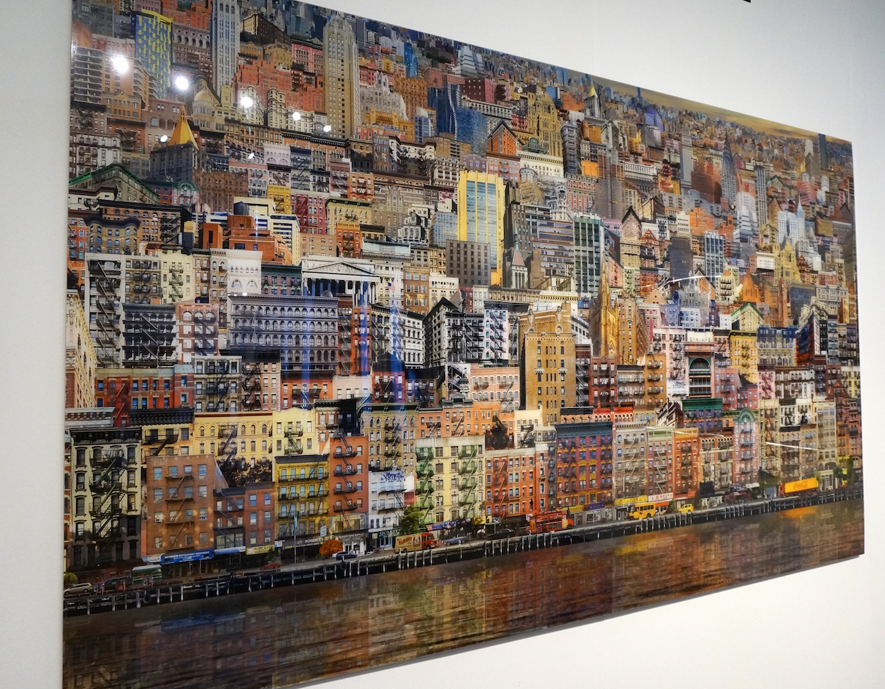 """Jean-François Rauzier, """"Lower East Side Veduta,"""" C-print mounted on aluminum, 58 x 98 in, on view with Waterhouse & Dodd"""