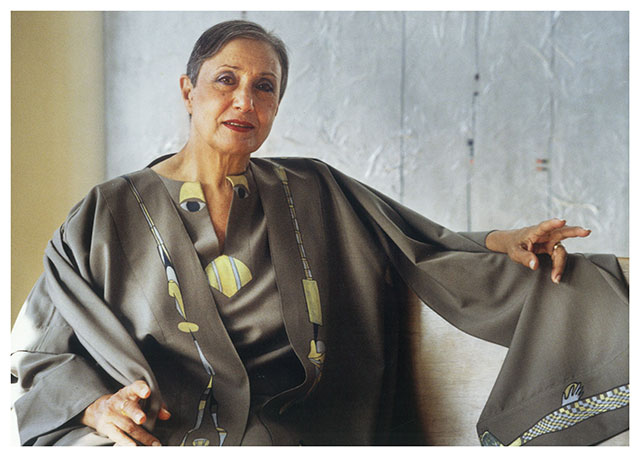 Huguette Caland wearing one of the caftans she designed for Pierre Cardin (image courtesy Lombard Fried Gallery, NYC)