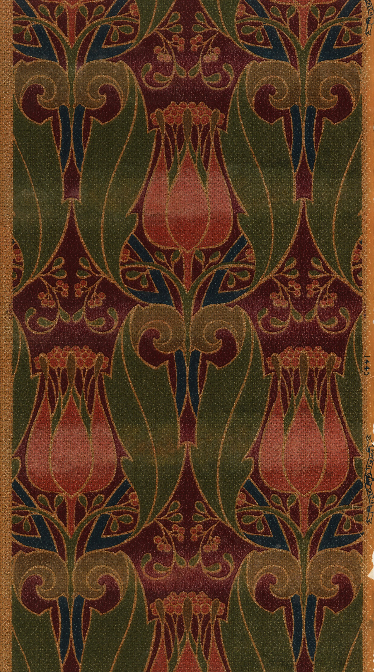 This Art Nouveau Wallpaper Features Tulips And Foliate Scrolls It Was Machine Printed By Imperial