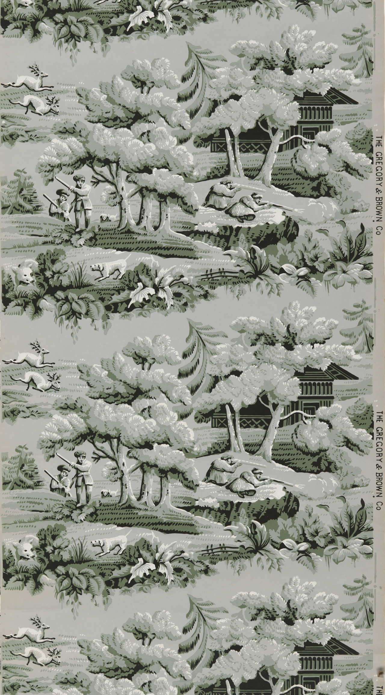 Four partial wallpaper rolls. Repeating vignettes of a stag and boar hunt in a forest. An ornate cabin is nestled among pine trees. Printed in two greens, black and white.