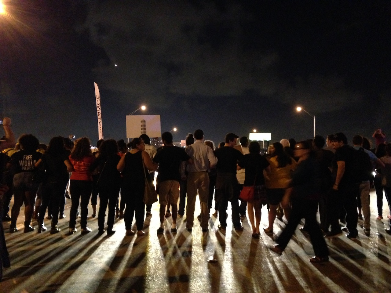 Protesters in Miami (all photos by the author for Hyperallergic unless otherwise noted)