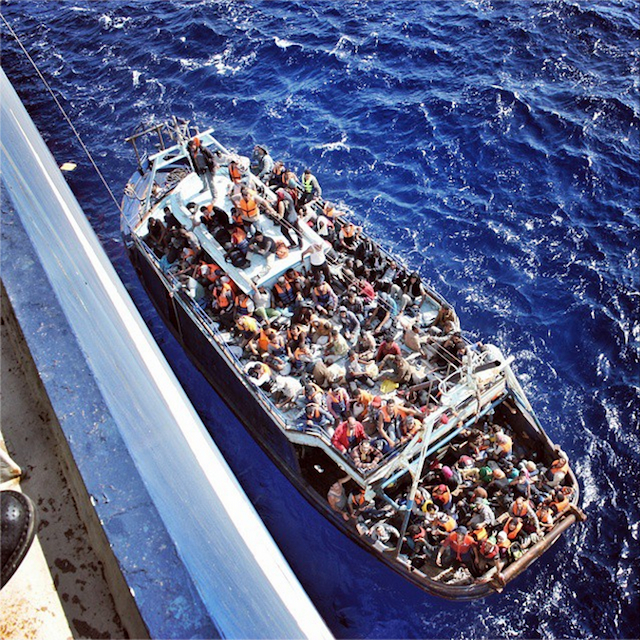 An image of the migrant boat was posted on JR's Instagram account (Image via Instagram/jr)
