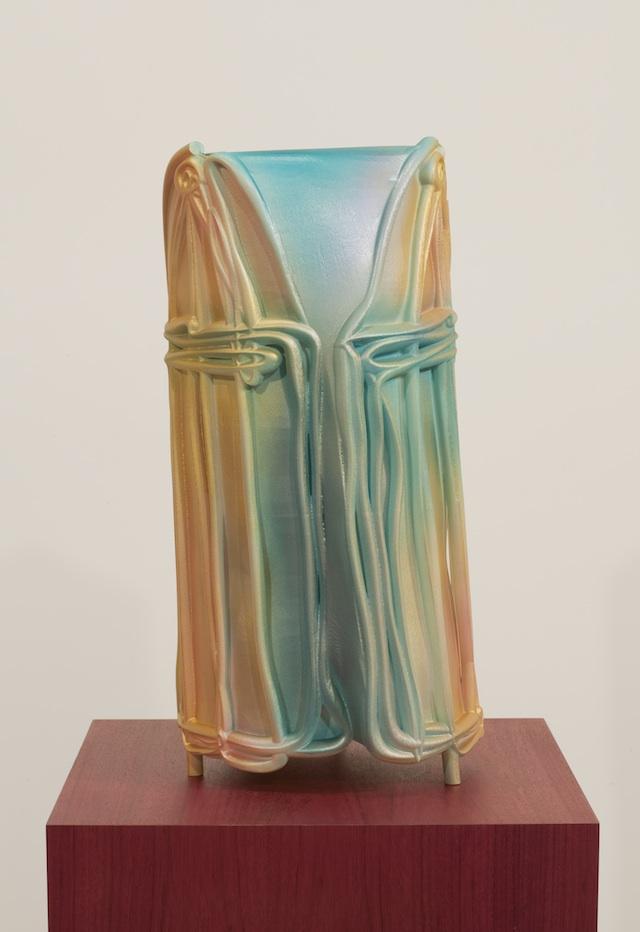 "Jacolby Satterwhite, ""Metonym IV (Gold)"" (2014). Nylon, enamel, and artist's pedestal."