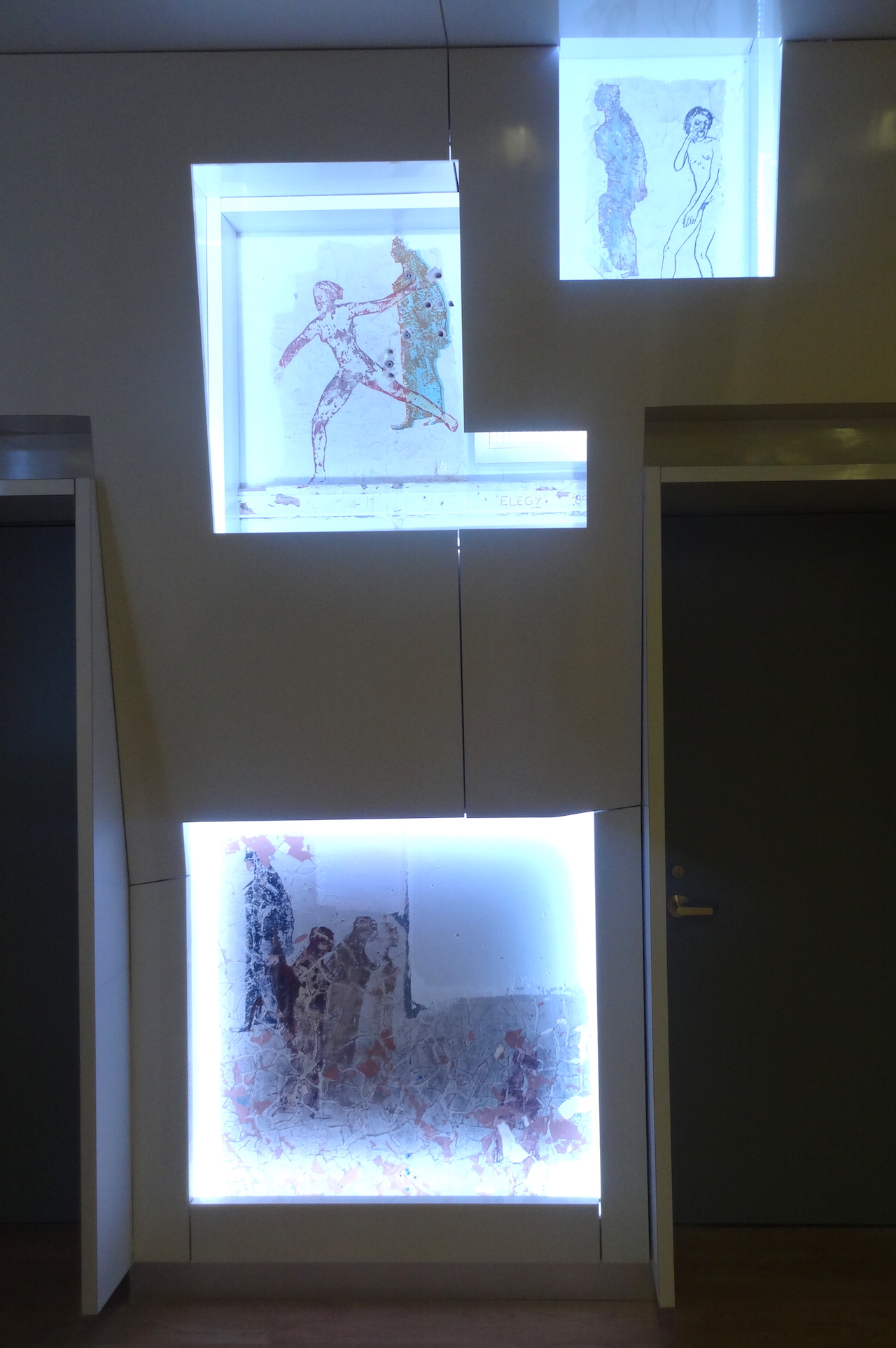 Works by Nancy Spero in the LGBT Center's Kaplan Assembly Hall