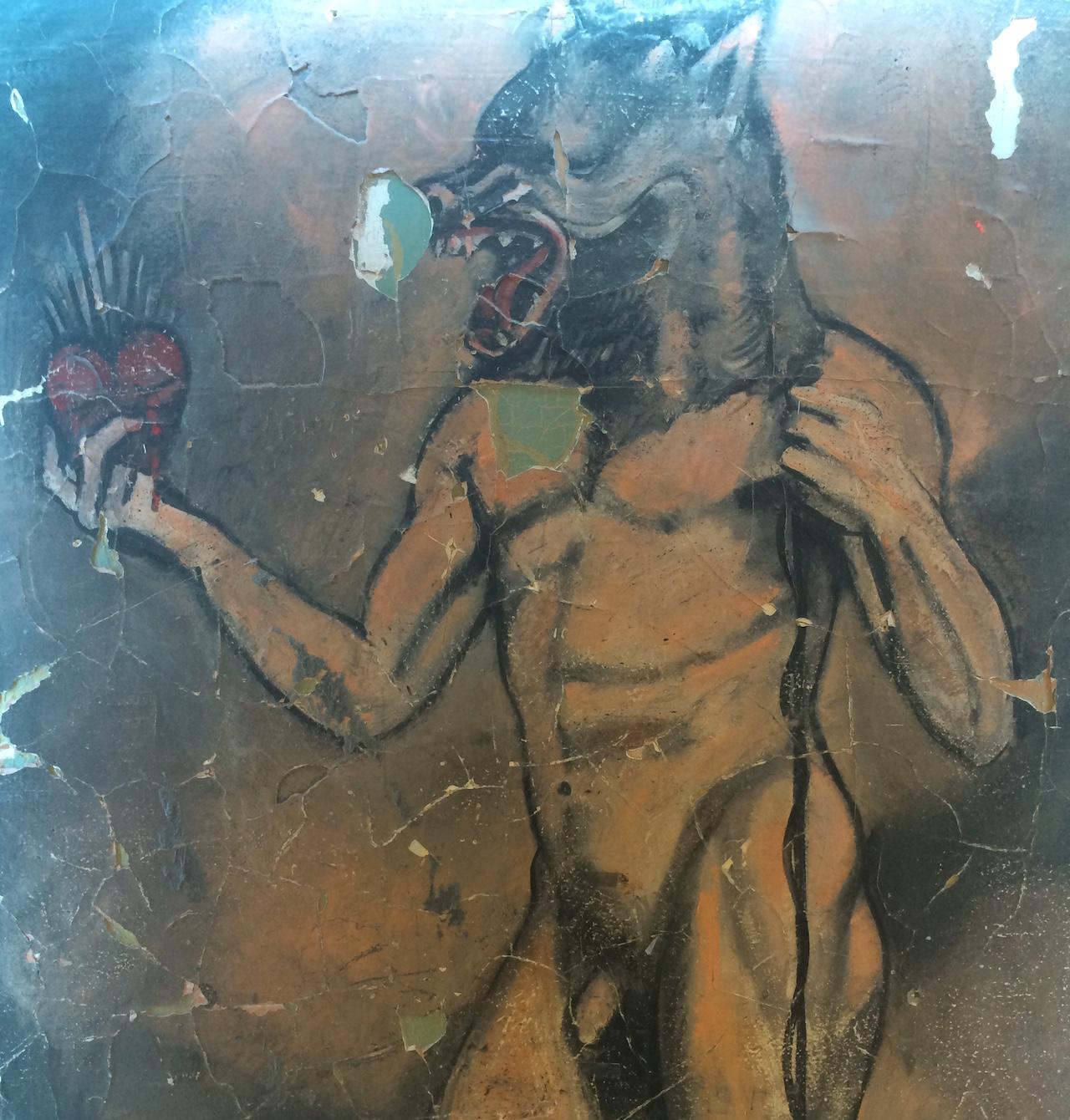 "Detail of Barbara Sandler's mural ""Nijinsky"" (1989) in the LGBT Center's Kaplan Assembly Hall"