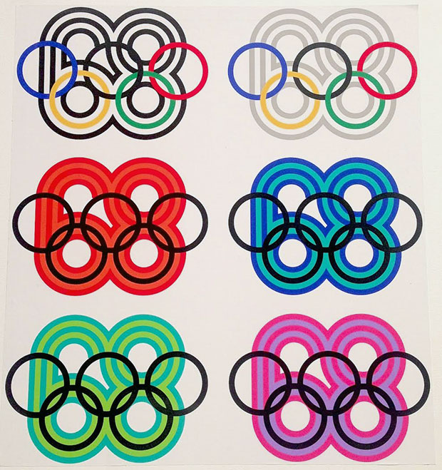 Some of Wyman's designs for the 1968 Olympic games in Mexico City (photo by Matt Stromberg for Hyperallergic)