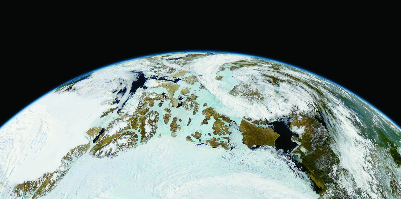 Michael Benson (United States), Northern Canada and Northern Greenland, OrbView-2, July 9, 1999, 2003, Digital c-print, 35 x 70 inches. Courtesy Michael Benson and Hasted Kraeutler Gallery