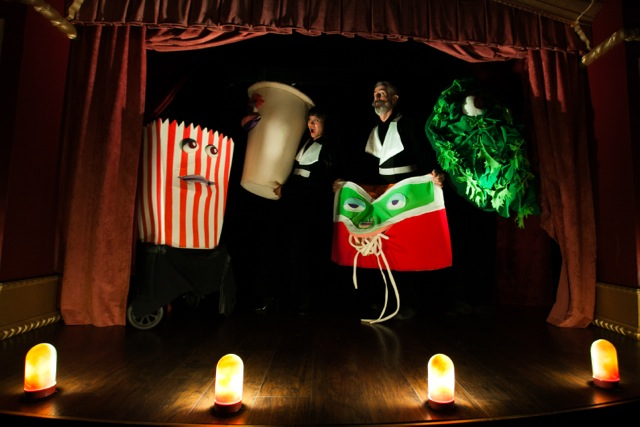 Jasmine Orpilla (The Vital Organ I, left) and Philip Littell (The Star, right) play with Donkey, LoPhat, Starvation and Salad Bar. Puppeteers: Drew Thataussie and Chelsea Rector. Puppets created by Patrick Ballard. (all images courtesy Asher Hartman)
