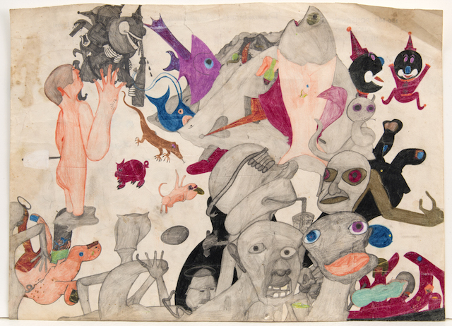 """Susan Te Kahurangi King, """"Untitled"""" (c. 1965), graphite and colored pencil on paper 11.5 x 16 inches (courtesy Andrew Edlin Gallery)"""