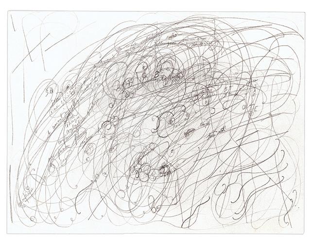 """Patricia Salen, """"Le Réseau Informatif,"""" 2009, Graphite on paper, 11.81 x 15.75"""