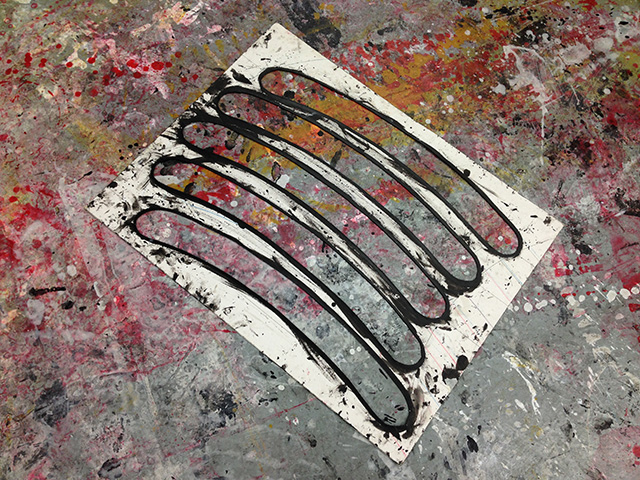 The artist's stencil in the studio