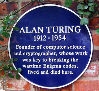 A blue plaque marking Alan Turing's home in Wilmslow, England (via wikipedia.org)