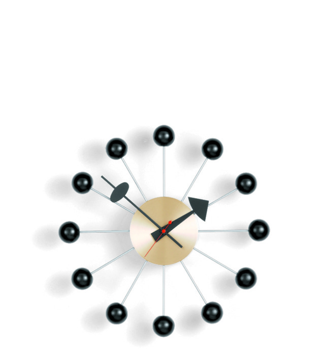 Ball Clock, Designed 1948–60 by George Nelson, American, 1908–1986. Metal, brass, Diameter: 13 inches (33 cm), (Photo by Andreas Sütterlin, courtesy of Vitra, Inc.)
