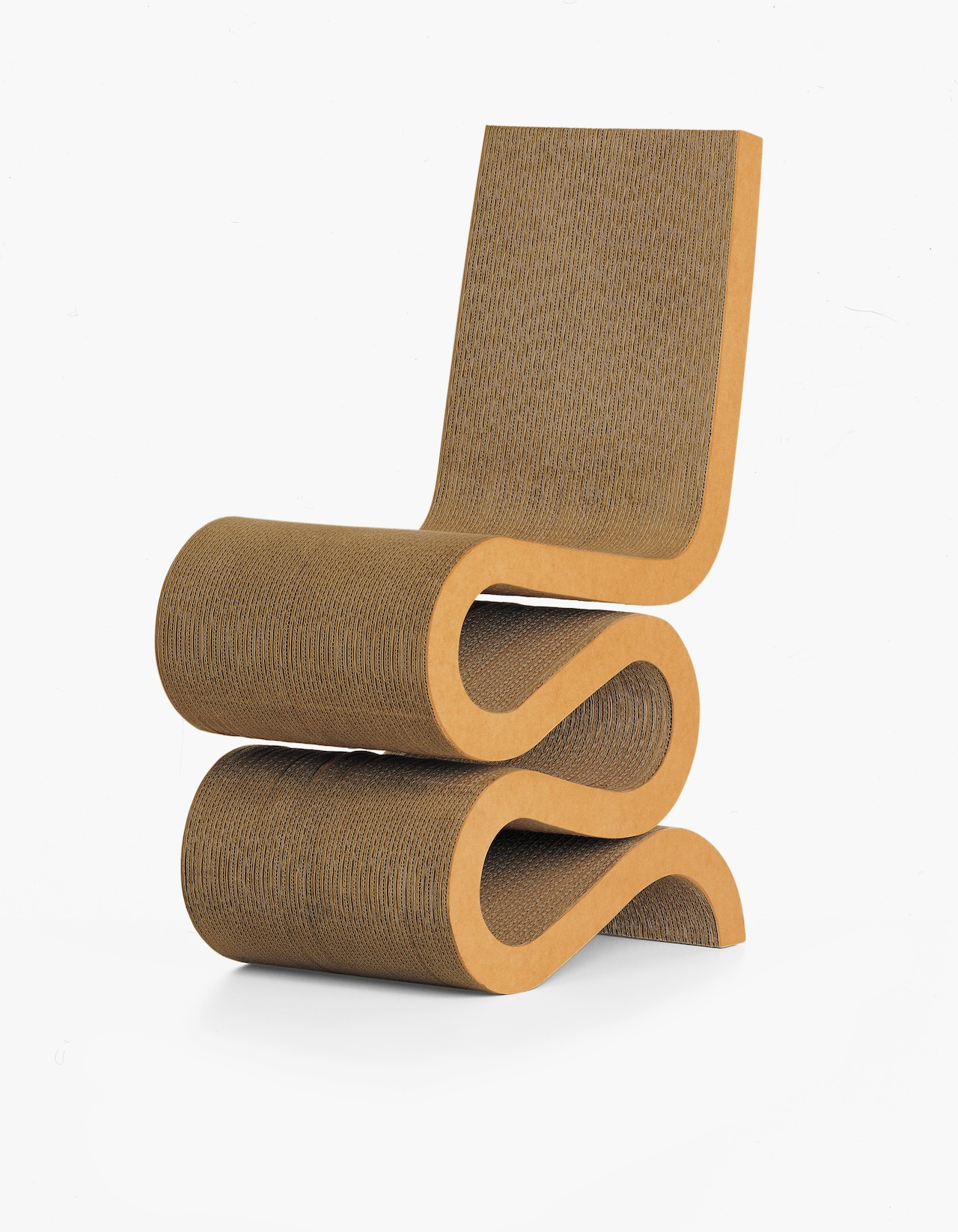 Wiggle Side Chair, Designed 1972/2005. Designed by Frank O. Gehry, American (born Canada), 1929. Corrugated cardboard, hardboard, 34 1/4 × 14 1/4 × 24 inches (87 × 36.2 × 61 cm)Height of seat: 17 inches (43.2 cm), (Photo by Hans Hansen, courtesy of Vitra, Inc.)