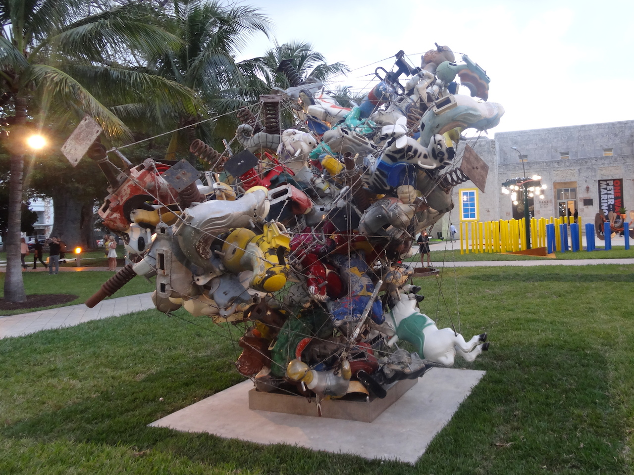 """View of Art Basel Miami Beach's Public sector, with Nancy Rubins's """"Our Friend Fluid Metal, Chunkus Majoris"""" (2013) in the foreground (all photos by the author for Hyperallergic)"""