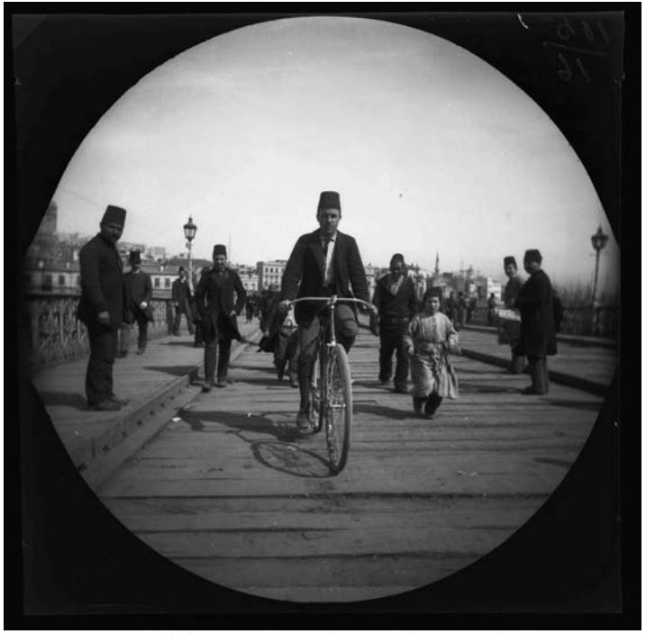 William Sachtleben on the Galata Bridge, Istanbul, 1891 (via fowler.ucla.edu)