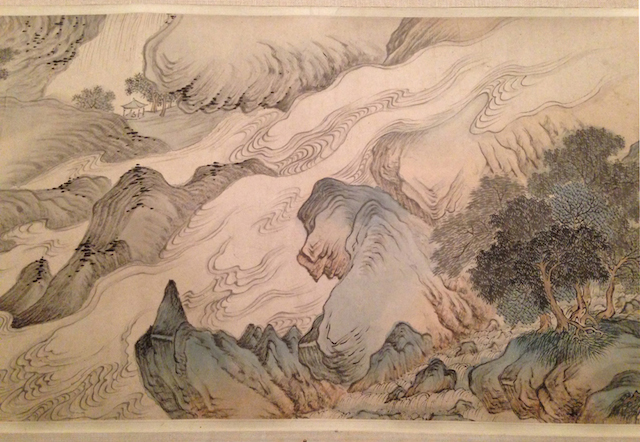 """From """"The Art of the Chinese Album"""" at the Metropolitan Museum of Art: Wei Zhike, """"Views of Nanjing in the four seasons (detail)"""" (1635), ink and color on silk."""