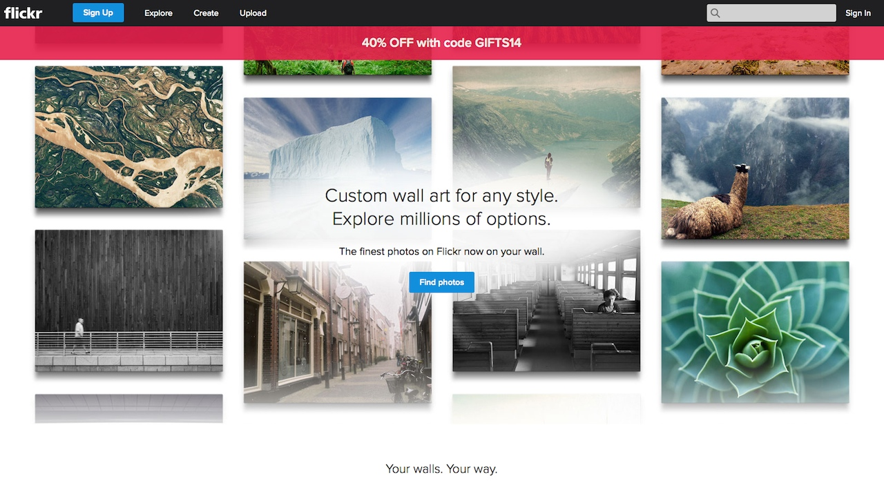 "Flickr's ""curated collection"" wall art site (screenshot by the author)"