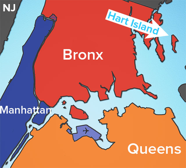 Hart Island is the easternmost point in the Bronx borough of NYC (illustration by Hrag Vartanian/Hyperallergic)