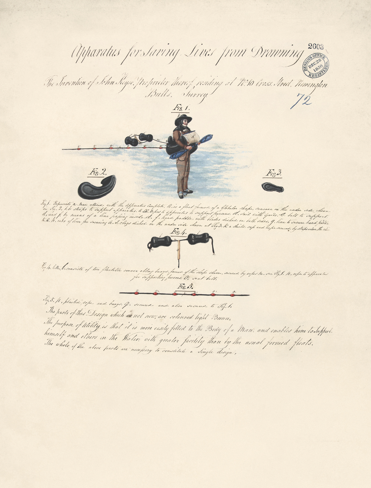 Apparatus for Saving Lives from Drowning by John Keyse, 1850 (BT 45/14) (The National Archives, London, England 2014. © 2014 Crown Copyright)